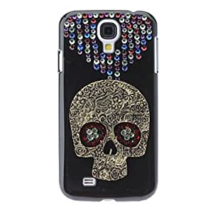 Cráneo Caso duro del patrón fresco con el Rhinestone para Samsung i9500 Galaxy S4