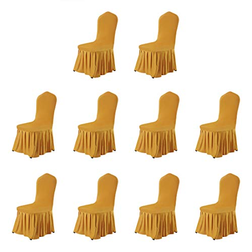 uxcell Stretch Spandex Round Top Dining Room Chair Covers Long Ruffled Skirt Slipcovers for Shorty Chair Seat Covers Dark Yellow 10pcs