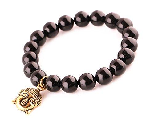 (MBOX Buddha Energy Pendent Bracelet (Black Agate Golden Buddha))