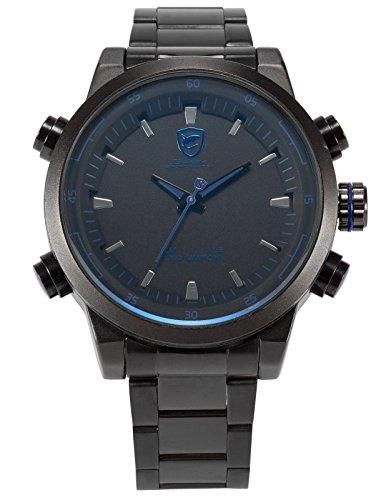 Shark Mens SH268 Analog Oversize Case LED Stainless Steel Band Quartz Watch