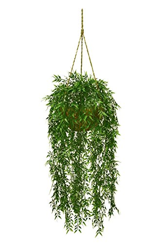 Artificial Bamboo Hanging Basket Arrangement Plastic Plants Decor Bush Patio 724 by Black Decor Home