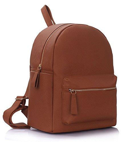 Ladies Girl's Backpack Rucksack School Bags Women's Qualtiy Fashion Faux Leather Handbag CWS00186 CWS00186A (186A Brown)