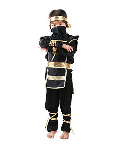 Echo Paths Fancy Ninja Assassin Child Boys Kids Cosplay Halloween Mask Costume Dress up Party Black S -