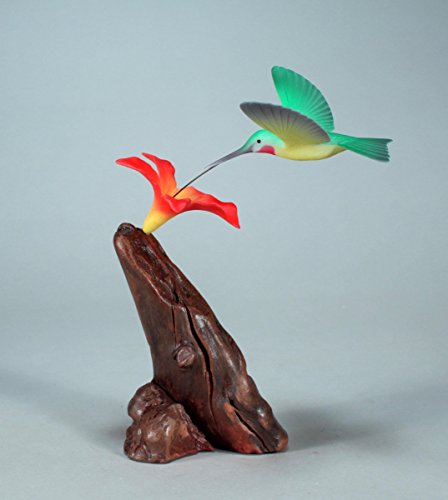 Hummingbird Statue (Hummingbird Sculpture by John Perry with Red Flower Statue Airbrushed 5in Wing Span)