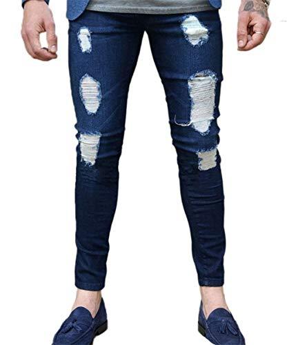 Da Mode Moda Strappati Elasticizzati Di Aderenti Zip Uomo Marca Con Attillati Casual Nudi Pantaloni Fitness Navyblau Jeans B8qIOq