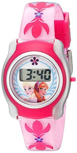 Disney Kids' FNFKD012 Frozen Watch with Pink Plastic Band and Interchangeable Slide-On Characters - Disney Interchangeable Watch