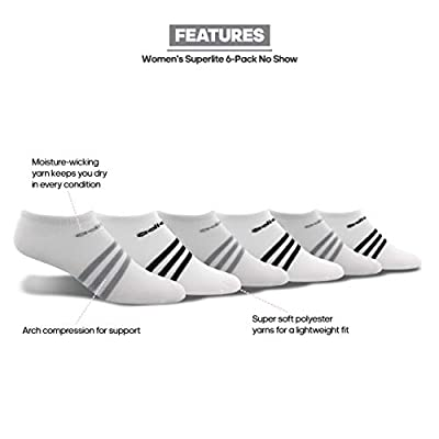 adidas Women's Superlite No Show Socks (6-Pair): Clothing