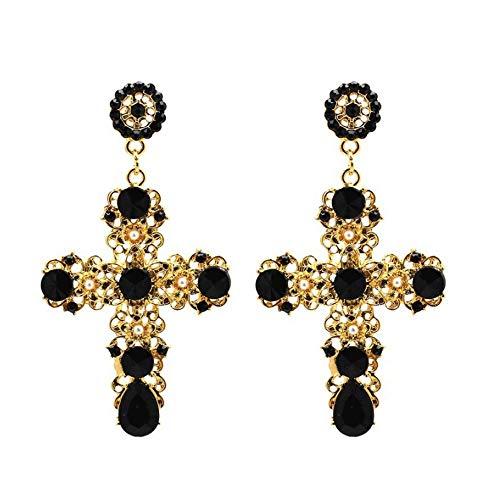 ALMAATA Jewelry Vintage Boho Crystal Cross Baroque Bohemian Large Long Drop Earrings for Women Girls (Black)