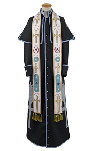 Xiao Maomi Priest Cosplay Costume Miracle Investigator Black Cloak Long Scarf Halloween (L, (Female Investigator Costume)