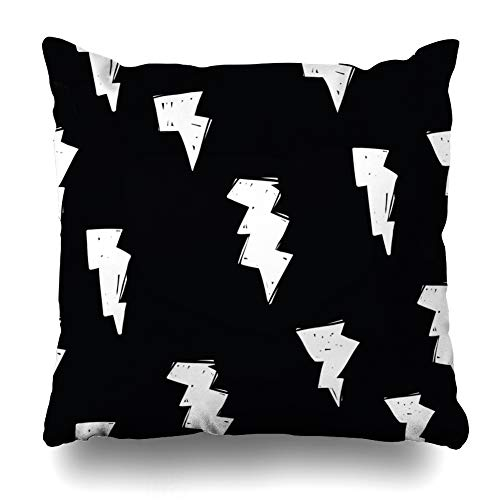 - Ahawoso Throw Pillow Cover Distress Black Cute Lightning Bolt Modern Pattern Abstract Doodle Drawing Electric Design Graffiti Decorative Pillowcase Square Size 20