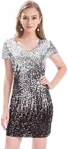 a6d83c7aafa MANER Women s Sequin Glitter Short Sleeve Dress Sexy V Neck Mini Party Club Bodycon  Dresses