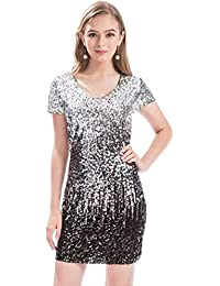 Women s Sequin Glitter Short Sleeve Dress Sexy V Neck Mini Party Club  Bodycon Gowns 3704a1c14cc0