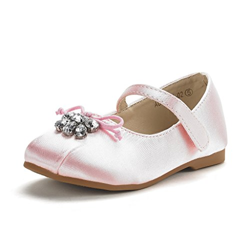 DREAM PAIRS Toddler Aurora-02 Pink Satin Girl's Mary Jane Ballerina Flat Shoes Size 10 M US Toddler ()