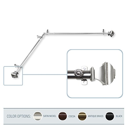 A&F Rod Decor - Phife Corner Window Curtain Rod 48-84 inch (each side) - Satin Nickel