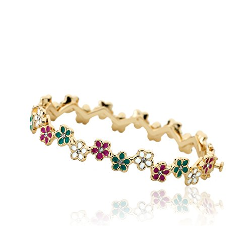 (Little Miss Twin Stars Frosted Flowers 14k Gold-Plated Hot Pink, White & Turquoise Cut Out Flowers Oval Hinged Bangle)