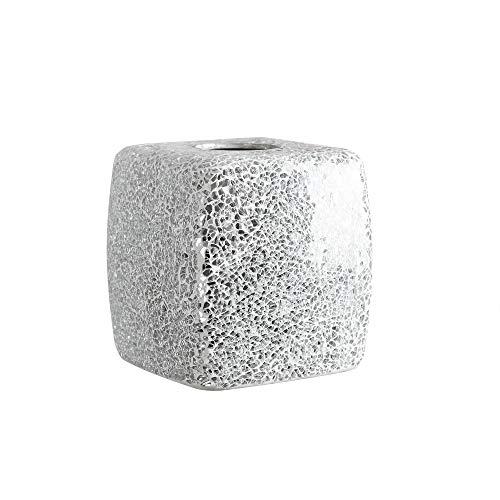 Mosaic Tissue - Whole Housewares Mosaic Glass Tissue Holder Decorative Tissue Cover Square Box (Silver)