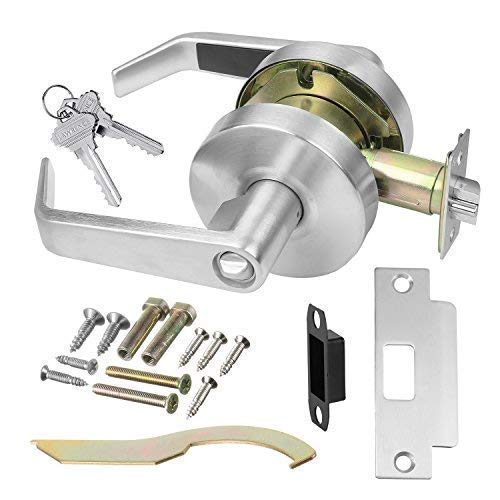 Commercial Cylindrical Lever Heavy Duty Non-Handed Grade 2 Door Handle, Satin Chrome (626) US26D Finish (Entrance/Keylock) by Lawrence Hardware LH5304L