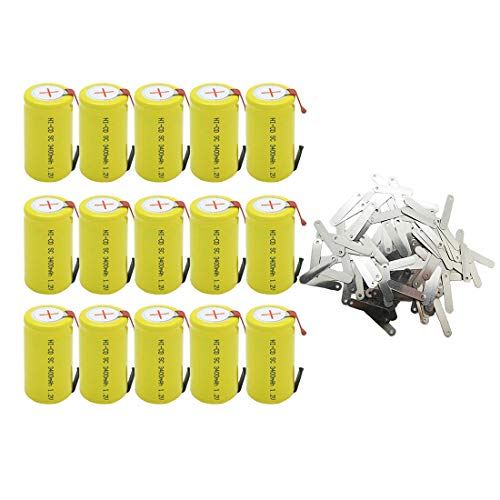 QBLPOWER 15Pcs SubC Sub C Battery with Tabs NiCd Rechargeable 3400mAh 1.2V for Power Tool with Solder Tabs (Sub C Nicd Rechargeable Battery)