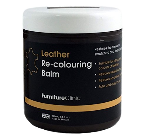 Furniture Clinic Leather Recoloring Balm – Renew, Restore & Repair Color to Faded Scratched Leather | 21 Color Choices, Works on Couches, Car Seats, Clothing & Purses - 8.5 Fl. Oz (Dark Brown) ()