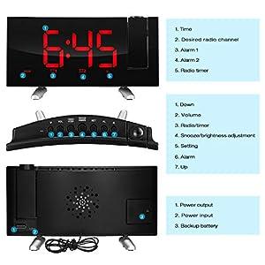 SKM Reloj Despertador de Proyección Digital Radio FM Reloj de Viaje Reloj de Cabecera Proyector Giratorio Alarma Doble Función de Despertador (Rojo) 3