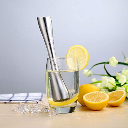 JDgoods Stainless Steel Heavy Duty Cocktail Muddler, Ice Crusher Hammer, Professional Grade Bar Mixder Tool, Make Perfect Mojitos, Old Fashioneds, Mint Juleps and More