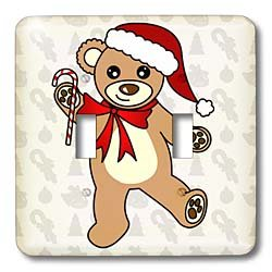 3dRose lsp_15386_2 Christmas Cute Dancing Brown Teddy Bear With Santa Hat Toggle Switch]()