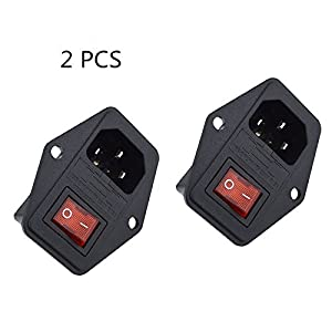 BVPOW Inlet Male Power Socket with Fuse Rocker Switch, 5A Fuse 3 Pin IEC320 250V 10A C14 Inlet Module for Computer and Home Appliance Power Accessory 2 PCS