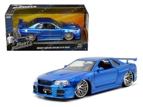 NEW 1:24 W/B JADA FAST & FURIOUS 8 (2017) - BLUE 2002 NISSAN SKYLINE R34 GT-R Diecast Model Car By Jada Toys (Model Collectors Scale)