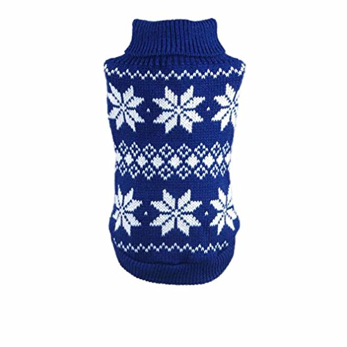 HP95(TM) Hot!Dog Clothes Pet Winter Snowflake Woolen Sweater Knitwear Puppy Warm High Collar Coat and Jacket (L, Blue) Review