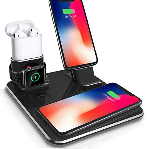 (ODELENWA Wireless Dual Phone Charger 10W Aluminum Charging Dock Stand Compatible iPhone Xs/XS Max/XR/X/ 8 Plus & S9 Plus/ Note8, Apple Watch Series 4/3/2/1 Airpods )