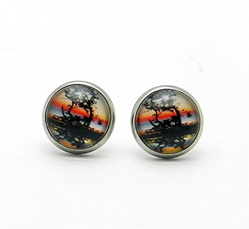 Landscape Stud Earrings sunset Tree Silv - Dome Set Earrings Shopping Results
