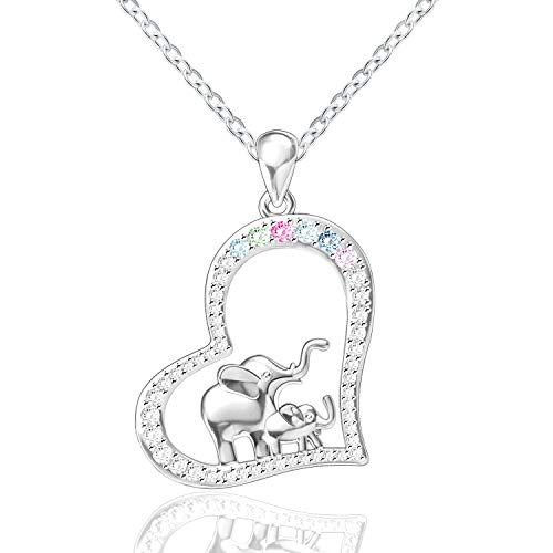 FREECO S925 Sterling Silver Lucky Elephant Love Heart Necklace Bracelet Earrings for Women Girls