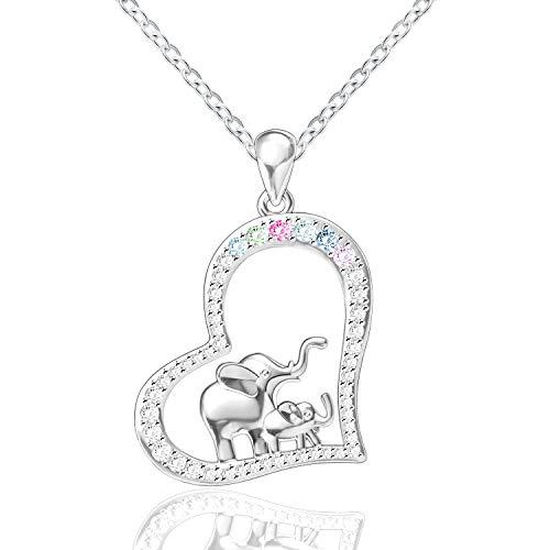 (FREECO S925 Sterling Silver Lucky Elephant Love Heart Necklace Bracelet Earrings for Women Girls)