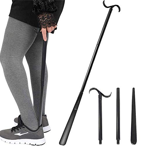 Shoe horn Long handle for Seniors – 33.5″ Long Dressing Stick Buddy, Sock Remover Tool, Stable and not easy to break, Adjustable Extended, for Disabled, Knee&Hip Replacements and Back Problems People