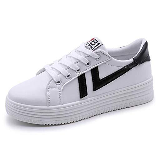 Closed Toe Scarpe poliuretano Primavera Sneakers Rosso Nero Bianco Estate donna PU Creepers White Comfort ZHZNVX da 41wqvvf