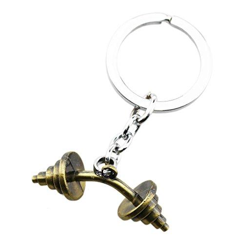FOY-MALL Unisex Vintage Bronze Metal Dumbbell Key Chain Ring (Halloween Is Dumb)