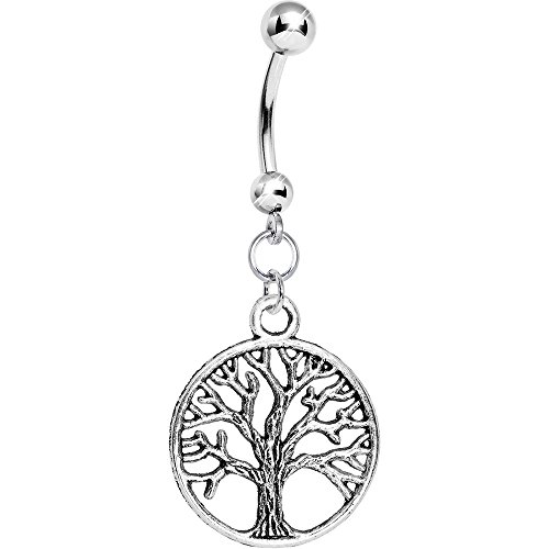 Body Candy Tree of Life Surgical Steel Dangle Belly Button ()