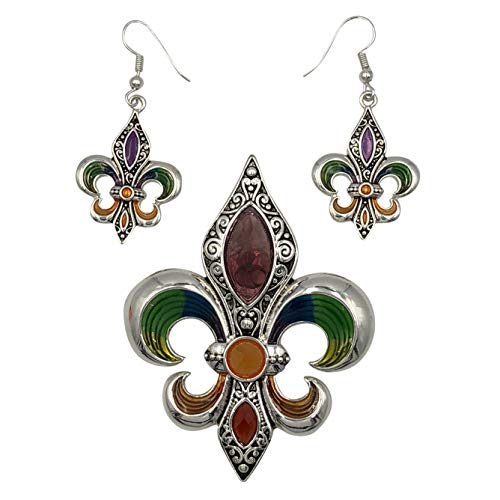 Large Mardi Gras Purple Green Yellow Pendant & Earrings Set (Silver Tone Fleur De Lis)