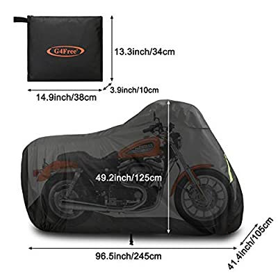 G4Free Waterproof Motorcycle Cover with Lock Holes Storage Bag Upgrade 300D Oxford All season Protection Motorbike Shelter Cover 96 Inch: Automotive