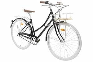 """Fabric City Bicicleta de Paseo- Bicicleta de Mujer 28"""" con Cesta, Cambio Interno Shimano 3V, 5 Colores, 14kg (Black Hackney Deluxe)"""