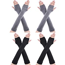 4 Pairs Winter Long Fingerless Gloves Knitted Arm Warmer Elbow Length Gloves Thumb Hole Gloves for Women Girls