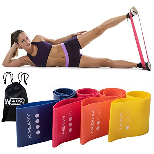 (Exercise Resistance Loop Bands Set of 4 Fitness Exercise Bands for Crossfit Workout, Legs, Yoga or Physical Therapy with Carry Bag)