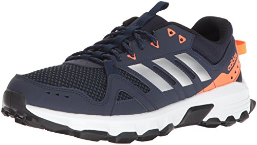 adidas Men's Rockadia Trail m Running Shoe, Collegiate Navy, Matte Silver, Solar Orange, 10 M US ()