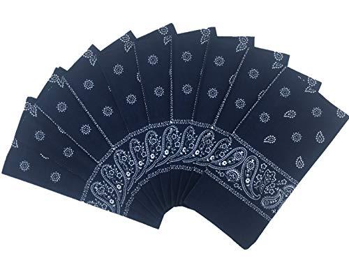 T&Z 100% Cotton 10 Pack Fine Bandanas(Navy)
