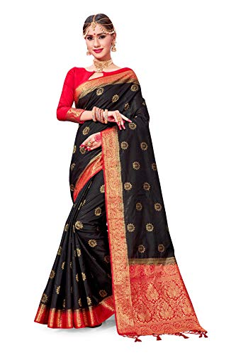 (ELINA FASHION Sarees for Women Banarasi Art Silk Woven Work Saree l Indian Wedding Traditional Wear Sari and Blouse Piece (Black))