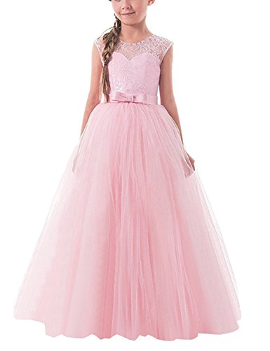 TTYAOVO Girls Pageant Ball Gowns Kids Chiffon Embroidered Wedding Party Dress Size 6-7 Years Pink]()