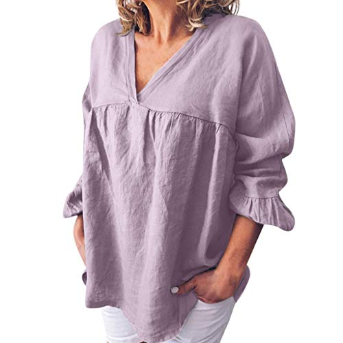 iBOXO Cotton Linen Casual Loose V-Neck Top Summer Solid Color Half-Sleeved Shirt(Purple,S)