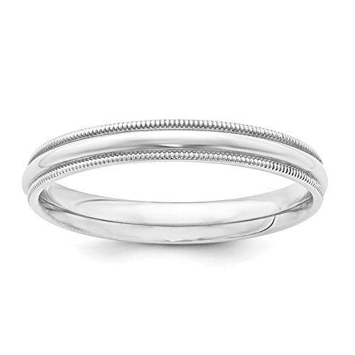 - 925 Sterling Silver 3mm Comfort Fit Milgrain Wedding Ring Band Size 6.5