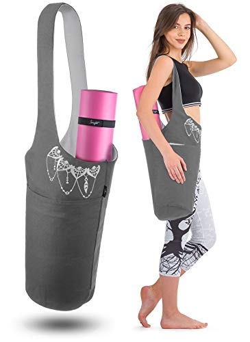 Zenifit Yoga Mat Bag - Long Tote with Pockets - Holds More Yoga Accessories. Cute Yoga Mat Holder with Bonus Yoga Mat Strap Elastics. Gray and White Yoga Mat Bags and Carriers for Women