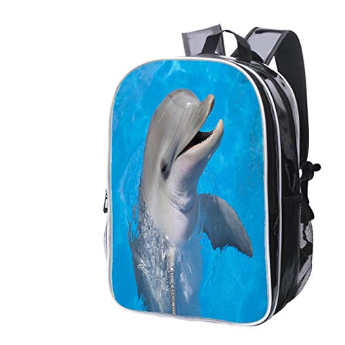 High-end Custom Laptop Backpack-Leisure Travel Backpack Happy Dolphin Water Resistant-Anti Theft - Durable -Ultralight- Classic-School-Black ()